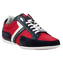 Buy BOSS Spacit Fabric Blend Trainers, Navy Online at johnlewis.com