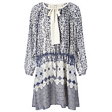 Buy Somerset by Alice Temperley Tie Waist Tile Dress, Blue Online at johnlewis.com