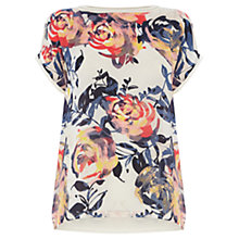 Buy Warehouse Rib Trim Brushstroke Top, Multi Online at johnlewis.com