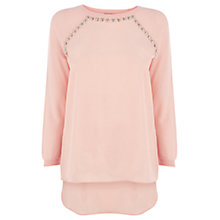 Buy Warehouse Jewel Trim Jumper, Light Pink Online at johnlewis.com