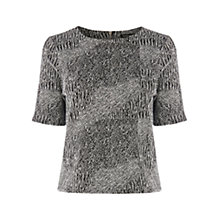 Buy Warehouse Scratchy Jacquard Co-ord Top, Black Online at johnlewis.com
