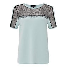 Buy Warehouse Lace Trim Crepe Top Online at johnlewis.com