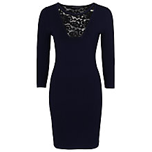 Buy French Connection Danni Ludo Dress, Prussian Blue/Black Online at johnlewis.com