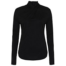 Buy French Connection Fast City Twist Long Sleeve Top, Black Online at johnlewis.com