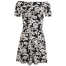 Buy Miss Selfridge Floral Bardot Dress, Black/White Online at johnlewis.com