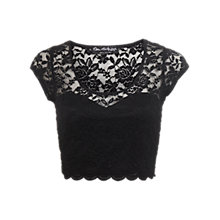 Buy Miss Selfridge Scallop Lace Crop Top, Black Online at johnlewis.com