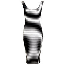 Buy Miss Selfridge Stripe Twist Back Midi Dress, Black/White Online at johnlewis.com