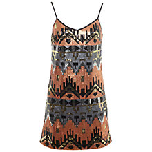 Buy Miss Selfridge Aztec Sequin Cami Dress, Gold Online at johnlewis.com