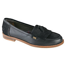 Buy Barbour Amber Fringe Leather Loafers, Black Online at johnlewis.com