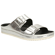 Buy Clarks Netrix Leather Slide Sandals, Silver Online at johnlewis.com