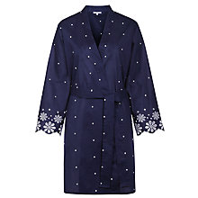 Buy John Lewis Dobby Embroidered Hem Robe, Navy Online at johnlewis.com
