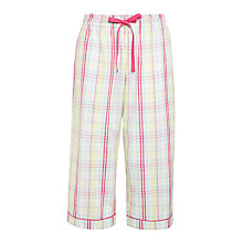 Buy John Lewis Folk Check Crop Pyjama Pants, White / Multi Online at johnlewis.com