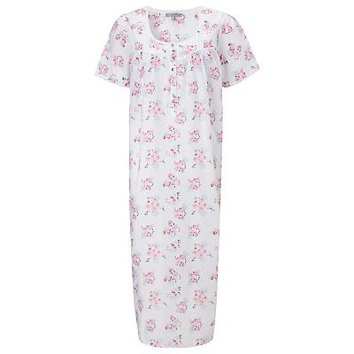 John Lewis Rose Print Dobby Nightdress, White / Pink