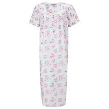 Buy John Lewis Rose Print Dobby Nightdress, White / Pink Online at johnlewis.com