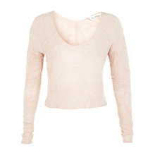 Buy Miss Selfridge Long Sleeve V-Neck Knitted Top, Nude Online at johnlewis.com