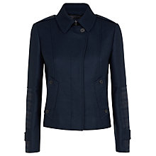 Buy Aquascutum Short Club Check Arm Patch Coat, Navy Online at johnlewis.com