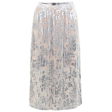 Buy Miss Selfridge Petite Foil Pleat Skirt, Nude Online at johnlewis.com