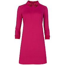 Buy Ted Baker Eelah Embellished Collar Dress, Deep Pink Online at johnlewis.com