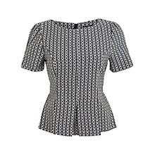 Buy Miss Selfridge Mono Peplum Top, Black Online at johnlewis.com