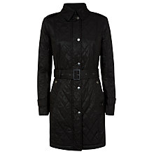 Buy Aquascutum Quilted Belted Coat, Black Online at johnlewis.com
