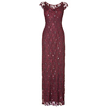 Buy Phase Eight Manuela Lace Beaded Full Length Dress, Cherry Online at johnlewis.com