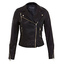 Buy Miss Selfridge Molly Faux Leather Biker Jacket, Black Online at johnlewis.com