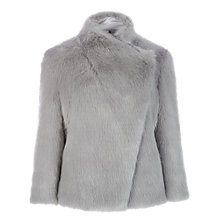 Buy Ted Baker Saliana Wrap Collar Faux Fur Jacket, Grey Online at johnlewis.com