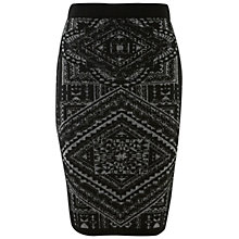 Buy Miss Selfridge Navajo Tile Skirt, Black Online at johnlewis.com