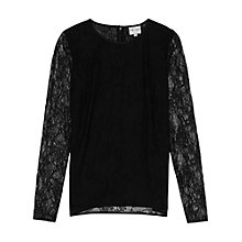 Buy Reiss Beck Lace Detail Shirt, Black Online at johnlewis.com