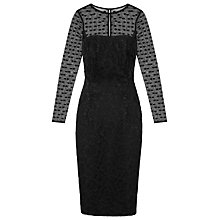 Buy Reiss Diana Polka Dot and Lace Long-Sleeved Dress, Black Online at johnlewis.com