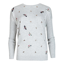Buy Ted Baker Sameera Embellished Jumper, Grey Marl Online at johnlewis.com
