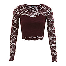 Buy Miss Selfridge Long Sleeve Scallop Lace Crop Top Online at johnlewis.com