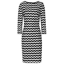 Buy Reiss Jackie Monochrome Striped Dress, Black / White Online at johnlewis.com