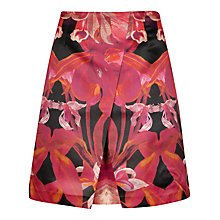 Buy Ted Baker Galwai Jungle Orchid Print Skirt, Maroon Online at johnlewis.com