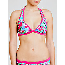 Buy John Lewis Exotic Floral Triangle Bikini Top, Turquoise Online at johnlewis.com