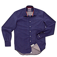 Buy Thomas Pink Dowson Print Shirt, Navy/Orange Online at johnlewis.com