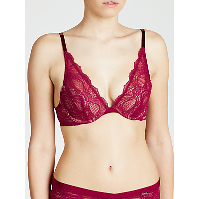 Calvin Klein Delicate Fashion Plunge Push Up Bra, Cabernet Grove
