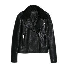 Buy Mango Faux Shearling Biker Jacket, Black Online at johnlewis.com