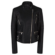 Buy Mango Zip Biker Jacket, Black Online at johnlewis.com