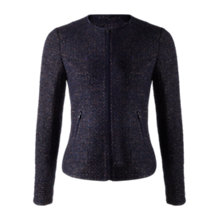 Buy Jigsaw Tweed Zip Jacket, Blackberry Online at johnlewis.com