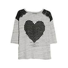 Buy Mango Lace Applique Tee, Light Pastel Grey Online at johnlewis.com