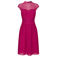 Buy Warehouse High Neck Lace Prom Dress, Dark Pink Online at johnlewis.com
