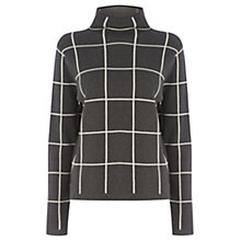 Buy Warehouse Check Funnel Neck Jumper, Dark Grey Online at johnlewis.com
