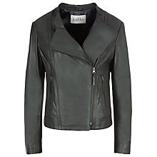 Buy Kaliko Draped Leather Jacket, Charcoal Online at johnlewis.com