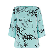 Buy Warehouse Bird Elbow Sleeve Top, Mint Online at johnlewis.com