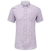Buy John Lewis Classic Stripe Linen Shirt, Purple/White Online at johnlewis.com