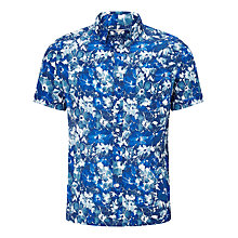 Buy John Lewis Floral Short Sleeve Linen Shirt, Cobalt Blue Online at johnlewis.com