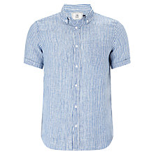 Buy John Lewis Striped Linen Short Sleeve Shirt, Cobalt Blue Online at johnlewis.com