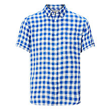 Buy John Lewis Gingham Linen Short Sleeve Shirt, Cobalt Blue Online at johnlewis.com