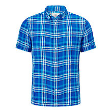 Buy John Lewis Madras Linen Check Short Sleeve Shirt, Cobalt Blue Online at johnlewis.com